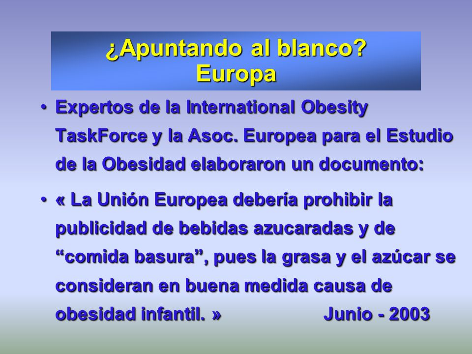 Expertos de la International Obesity TaskForce y la Asoc. Europea para el Estudio de la Obesidad elaboraron un documento:Expertos de la International