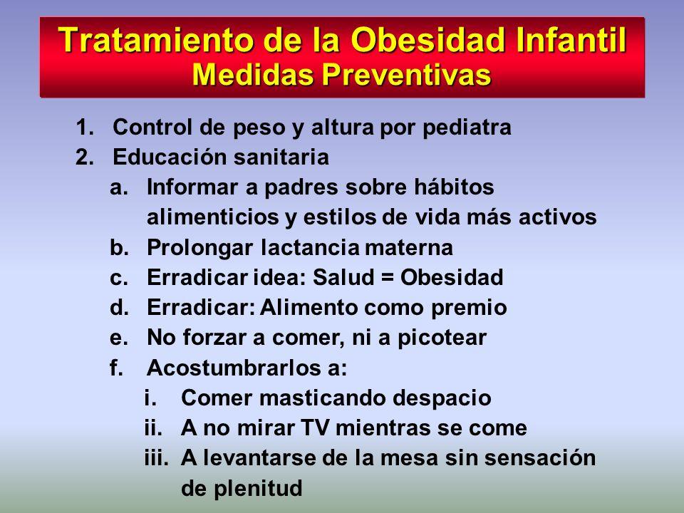 Tratamiento de la Obesidad Infantil Medidas Preventivas 1.Control de peso y altura por pediatra 2.Educación sanitaria a.Informar a padres sobre hábito