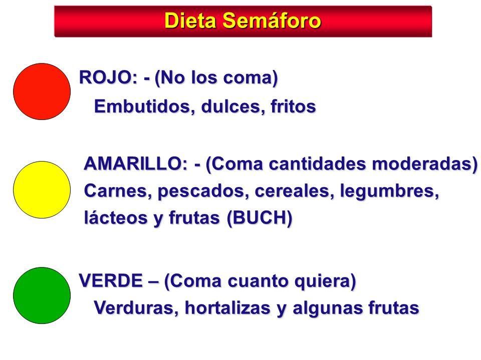 Dieta Semáforo VERDE – (Coma cuanto quiera) Verduras, hortalizas y algunas frutas ROJO: - (No los coma) Embutidos, dulces, fritos AMARILLO: - (Coma ca