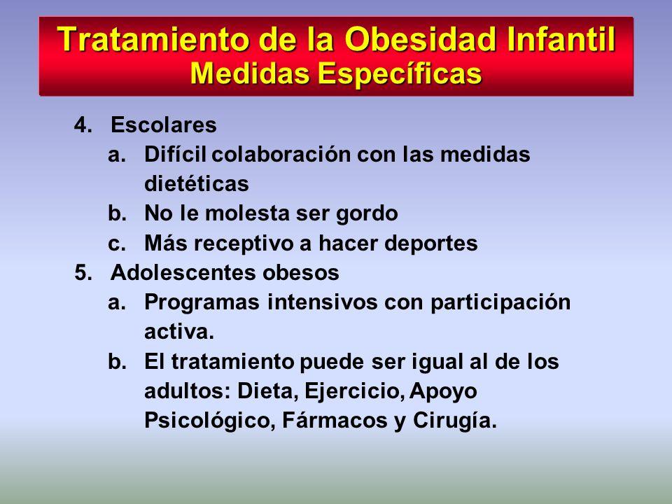 Tratamiento de la Obesidad Infantil Medidas Específicas 4.Escolares a.Difícil colaboración con las medidas dietéticas b.No le molesta ser gordo c.Más
