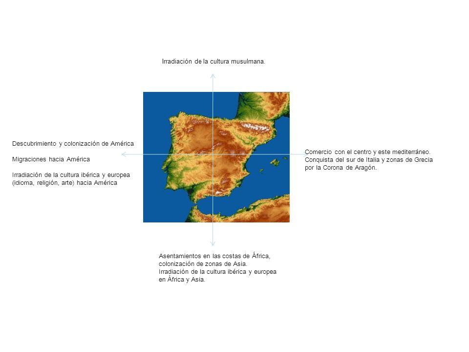 Comercio con el centro y este mediterr á neo. Conquista del sur de Italia y zonas de Grecia por la Corona de Arag ó n. Descubrimiento y colonizaci ó n
