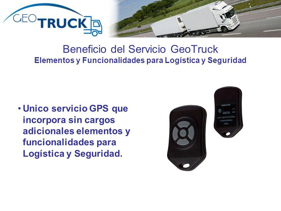Beneficio del Servicio GeoTruck Elementos y Funcionalidades para Logística y Seguridad Unico servicio GPS que incorpora sin cargos adicionales element