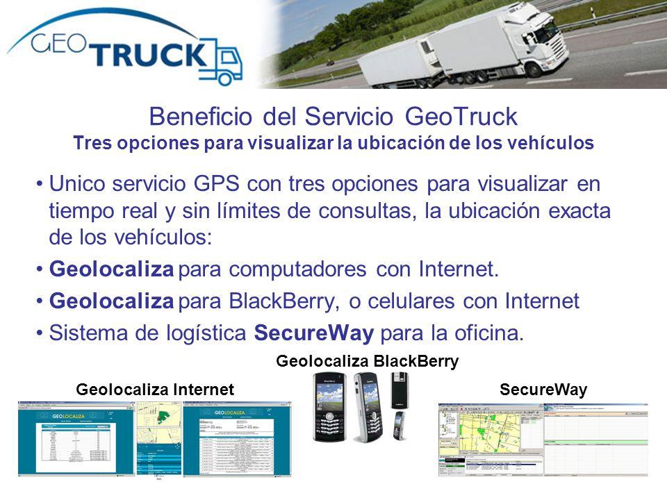 Beneficio del Servicio GeoTruck Tres opciones para visualizar la ubicación de los vehículos Unico servicio GPS con tres opciones para visualizar en ti