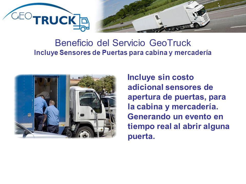 Beneficio del Servicio GeoTruck Incluye Sensores de Puertas para cabina y mercadería Incluye sin costo adicional sensores de apertura de puertas, para