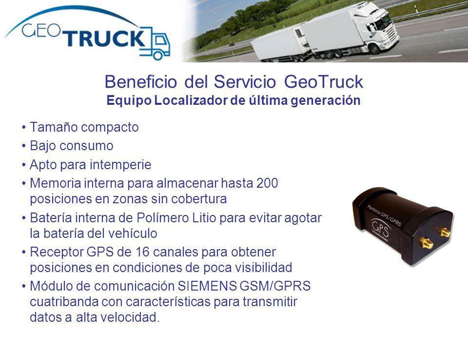 Beneficio del Servicio GeoTruck Equipo Localizador de última generación Tamaño compacto Bajo consumo Apto para intemperie Memoria interna para almacen