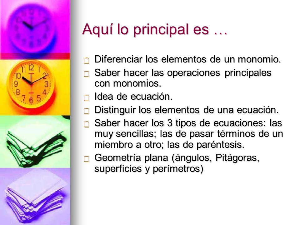 Aquí lo principal es … Diferenciar los elementos de un monomio. Diferenciar los elementos de un monomio. Saber hacer las operaciones principales con m