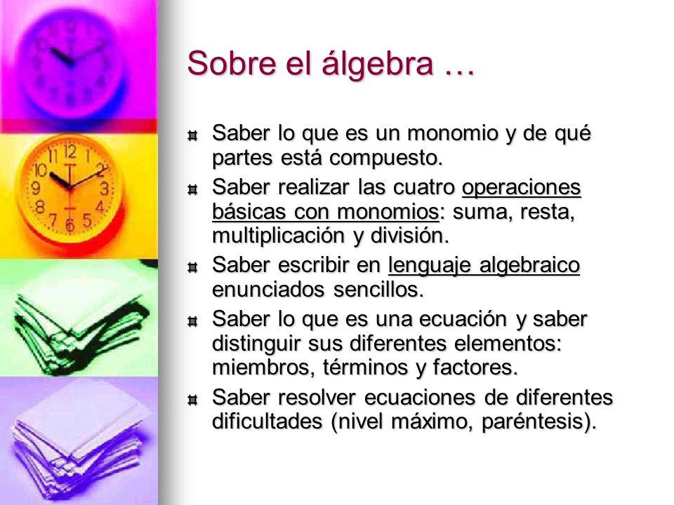 Sobre el álgebra … Saber lo que es un monomio y de qué partes está compuesto. Saber realizar las cuatro operaciones básicas con monomios: suma, resta,