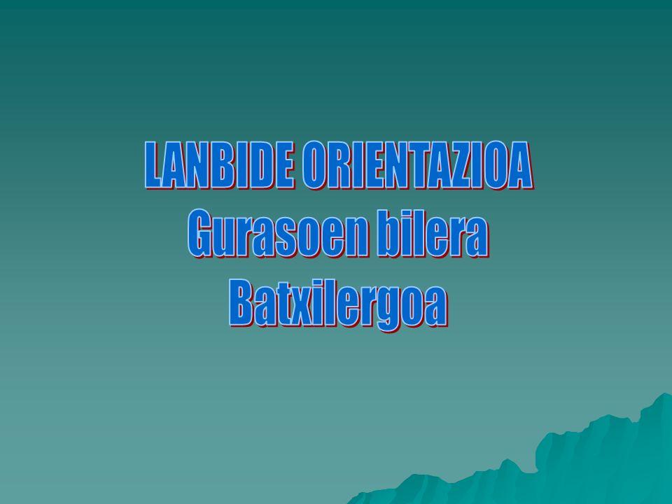 BILERAREN ZERGAITIA Informaros sobre: Informaros sobre: –Asignaturas de 2º de Bachillerato y su relación con estudios posteriores.