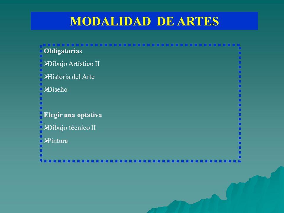 MODALIDAD DE ARTES Obligatorias Dibujo Artístico II Historia del Arte Diseño Elegir una optativa Dibujo técnico II Pintura