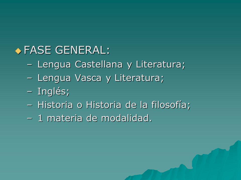 FASE GENERAL: FASE GENERAL: – Lengua Castellana y Literatura; – Lengua Vasca y Literatura; – Inglés; – Historia o Historia de la filosofía; – 1 materia de modalidad.