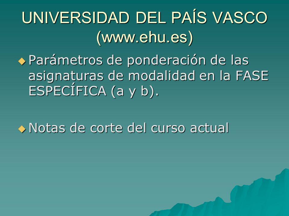 UNIVERSIDAD DEL PAÍS VASCO (www.ehu.es) Parámetros de ponderación de las asignaturas de modalidad en la FASE ESPECÍFICA (a y b).