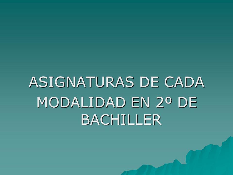 ASIGNATURAS DE CADA MODALIDAD EN 2º DE BACHILLER