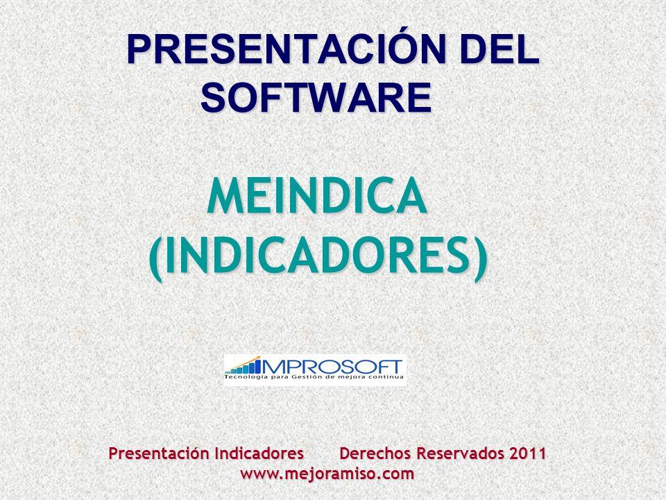 PRESENTACIÓNDEL SOFTWARE MEINDICA (INDICADORES) Presentación Indicadores Derechos Reservados 2011 www.mejoramiso.com