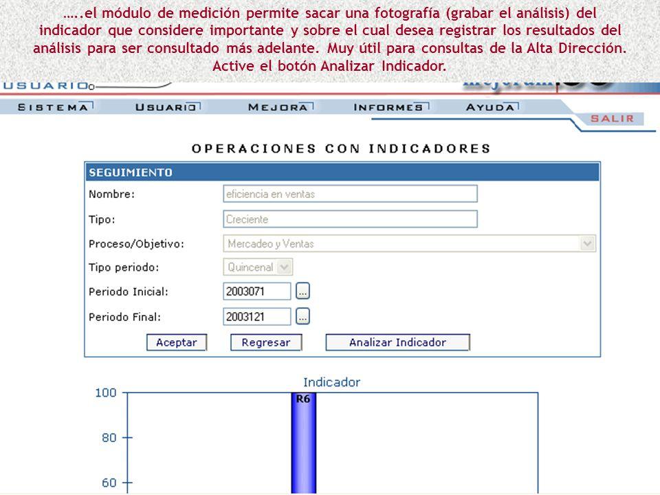 …..al activar un ícono del rango que desea registrar, aparece cuadro de texto para describir el resultado del comportamiento del indicador en ese rang