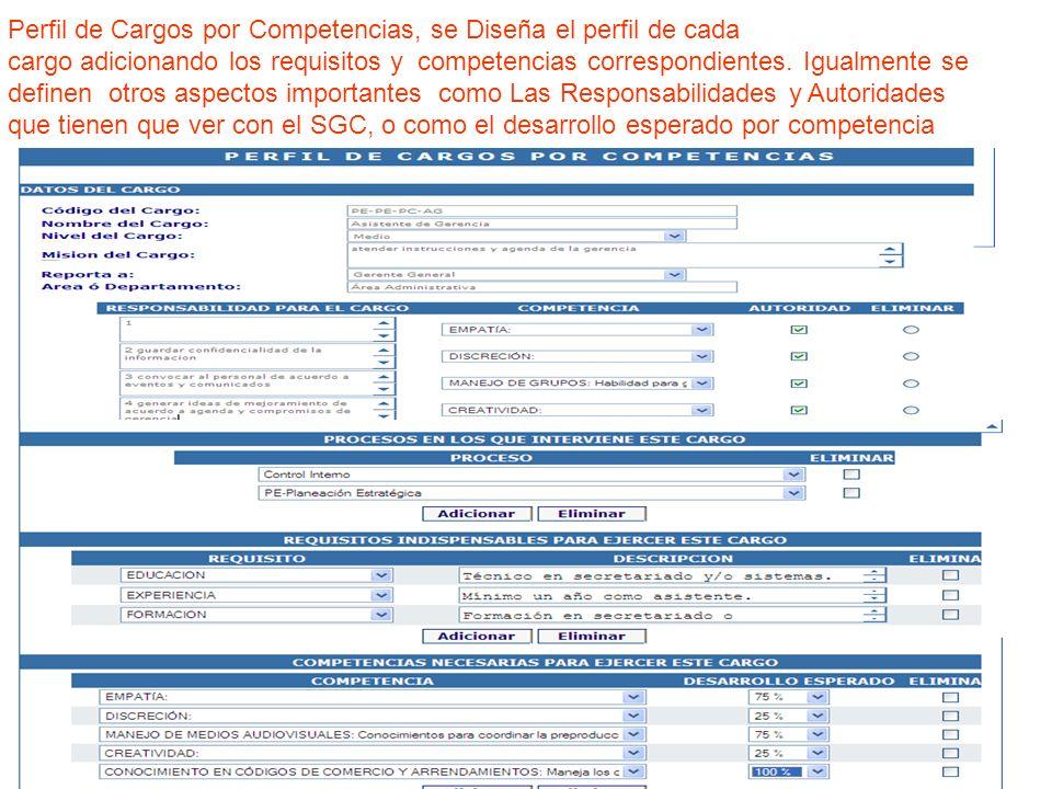 Perfil de Cargos por Competencias, se Diseña el perfil de cada cargo adicionando los requisitos y competencias correspondientes. Igualmente se definen