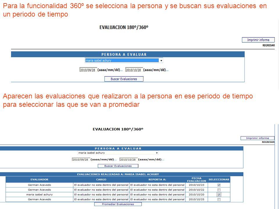 ra la funcionalida Para la funcionalidad 360º se selecciona la persona y se buscan sus evaluaciones en un periodo de tiempo Aparecen las evaluaciones