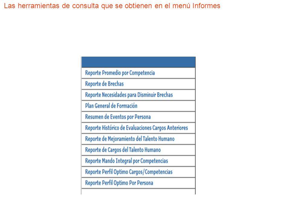 Las herramientas de consulta que se obtienen en el menú Informes