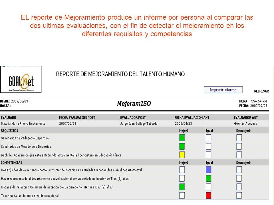 EL reporte de Mejoramiento produce un informe por persona al comparar las dos ultimas evaluaciones, con el fin de detectar el mejoramiento en los dife