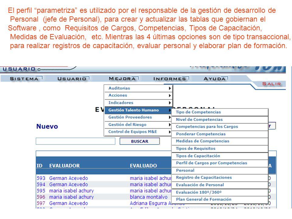 El perfil parametriza es utilizado por el responsable de la gestión de desarrollo de Personal (jefe de Personal), para crear y actualizar las tablas q