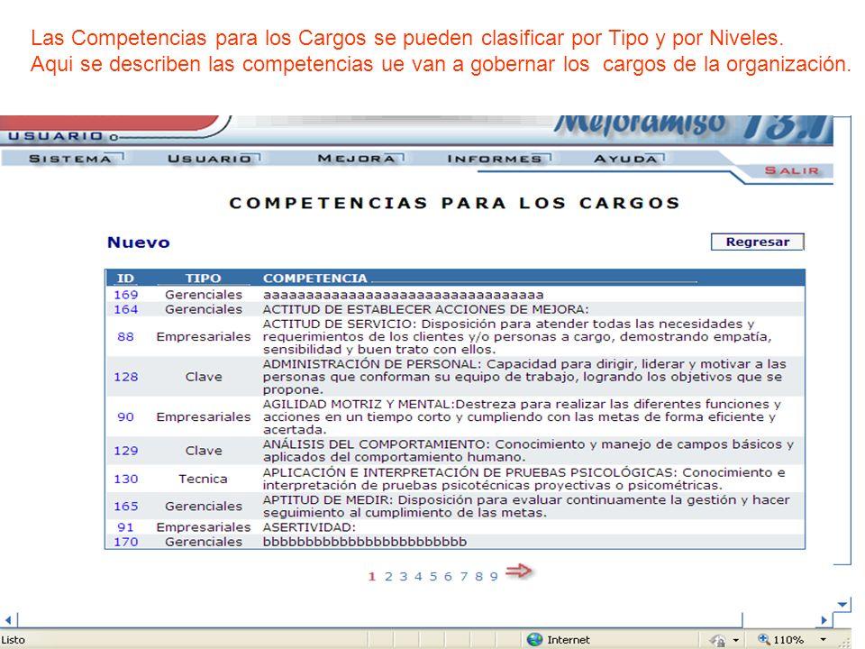 Las Competencias para los Cargos se pueden clasificar por Tipo y por Niveles. Aqui se describen las competencias ue van a gobernar los cargos de la or