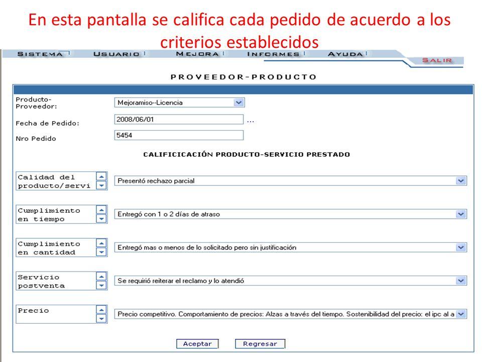 En esta pantalla se califica cada pedido de acuerdo a los criterios establecidos