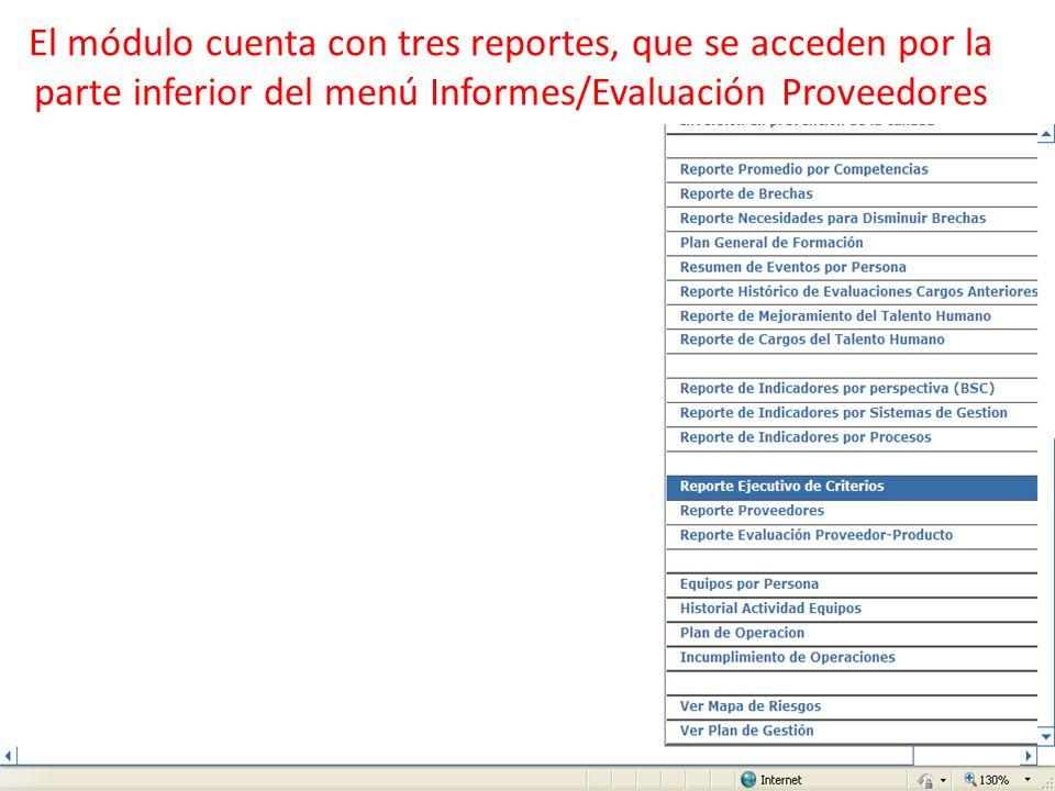 El módulo cuenta con tres reportes, que se acceden por la parte inferior del menú Informes/Evaluación Proveedores