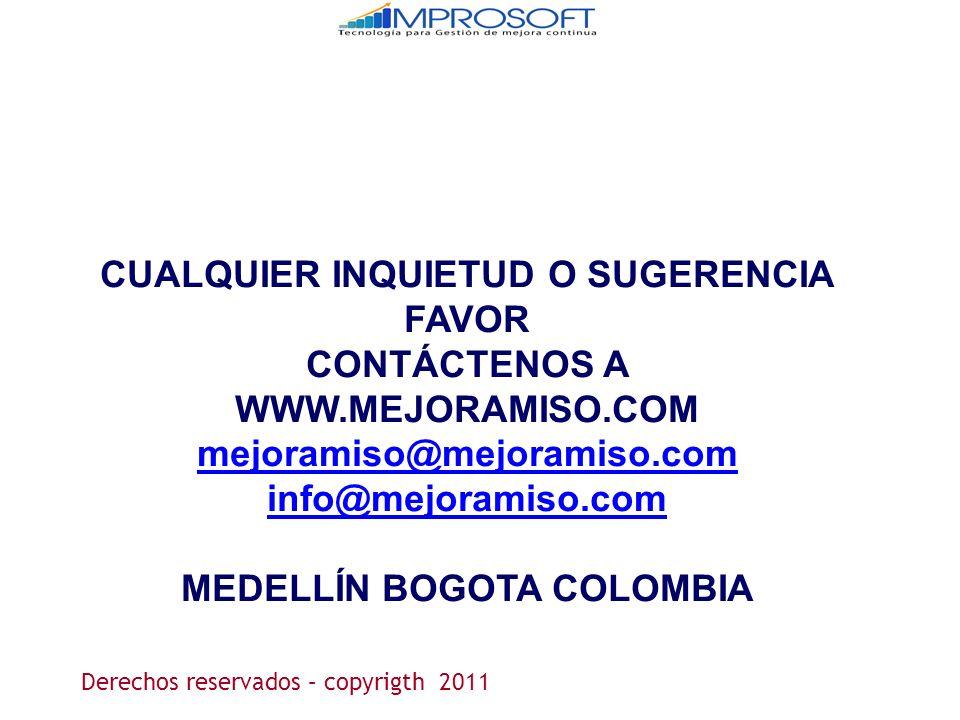 CUALQUIER INQUIETUD O SUGERENCIA FAVOR CONTÁCTENOS A WWW.MEJORAMISO.COM mejoramiso@mejoramiso.com info@mejoramiso.com MEDELLÍN BOGOTA COLOMBIA Derecho