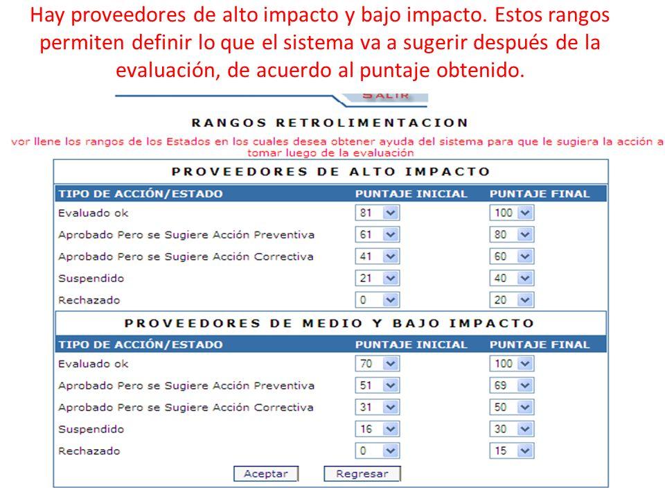 Hay proveedores de alto impacto y bajo impacto. Estos rangos permiten definir lo que el sistema va a sugerir después de la evaluación, de acuerdo al p