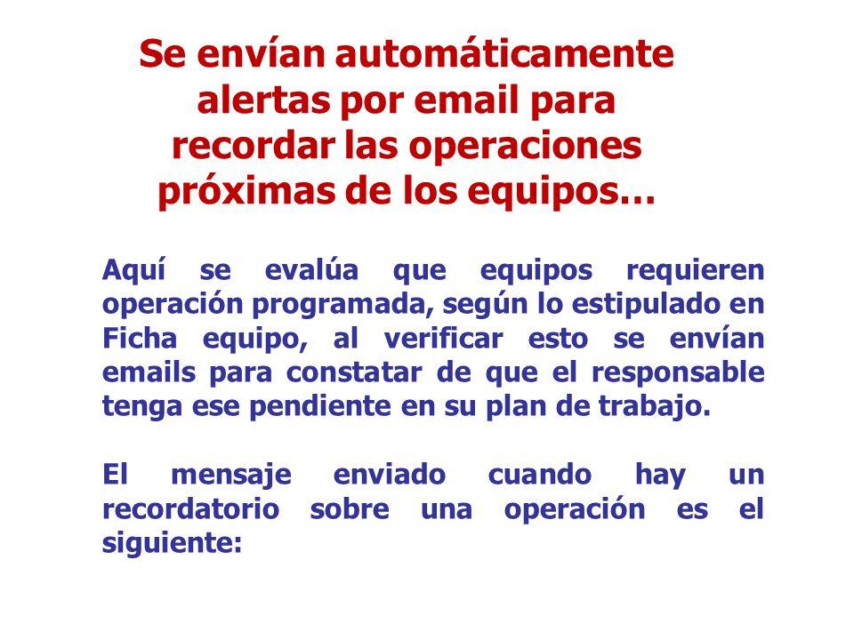 Aquí se evalúa que equipos requieren operación programada, según lo estipulado en Ficha equipo, al verificar esto se envían emails para constatar de q