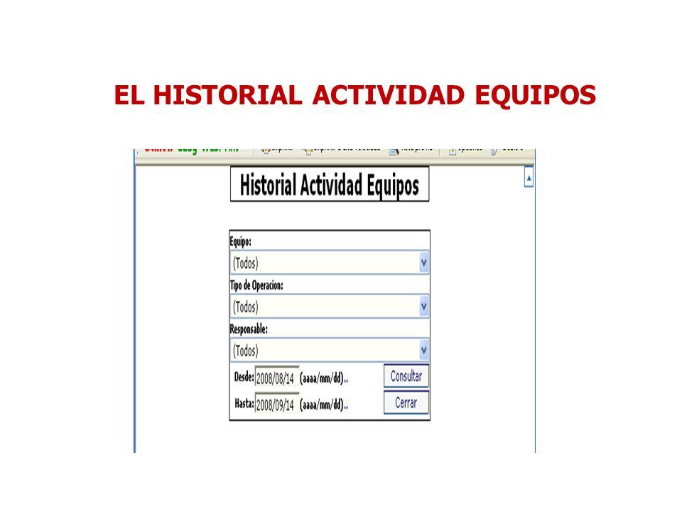 EL HISTORIAL ACTIVIDAD EQUIPOS