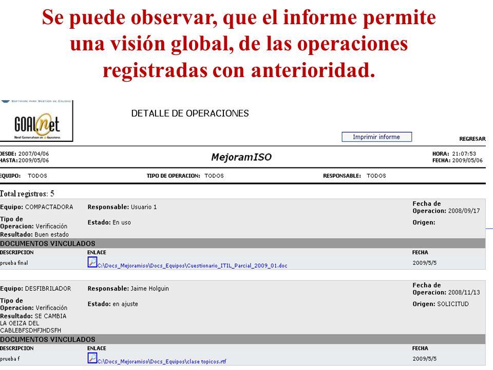 Se puede observar, que el informe permite una visión global, de las operaciones registradas con anterioridad.