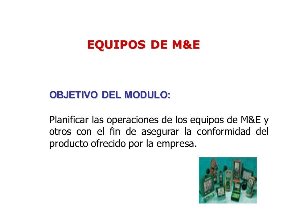 EQUIPOS DE M&E OBJETIVO DEL MODULO: Planificar las operaciones de los equipos de M&E y otros con el fin de asegurar la conformidad del producto ofrecido por la empresa.