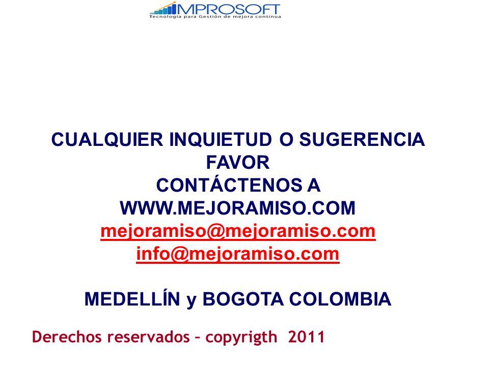 CUALQUIER INQUIETUD O SUGERENCIA FAVOR CONTÁCTENOS A WWW.MEJORAMISO.COM mejoramiso@mejoramiso.com info@mejoramiso.com MEDELLÍN y BOGOTA COLOMBIA Derechos reservados – copyrigth 2011