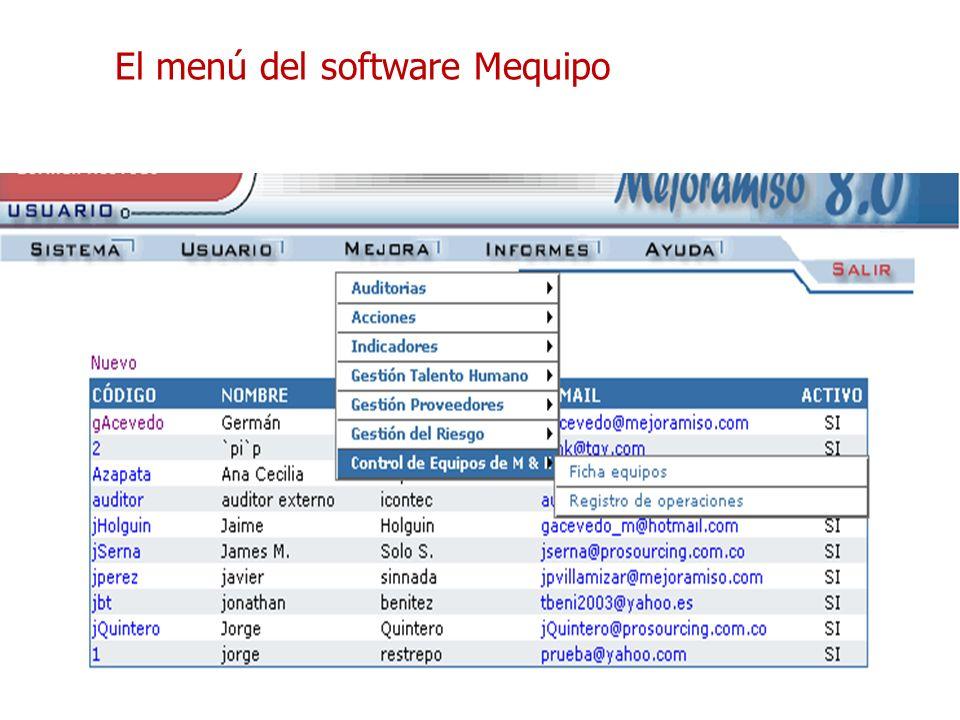 El menú del software Mequipo