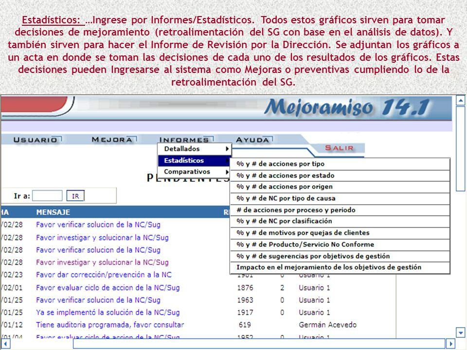 Estadísticos: …Ingrese por Informes/Estadísticos.