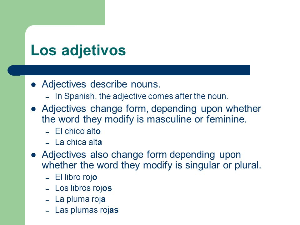 Los adjetivos Adjectives that end in -e do not, however, change form for masculine or feminine.