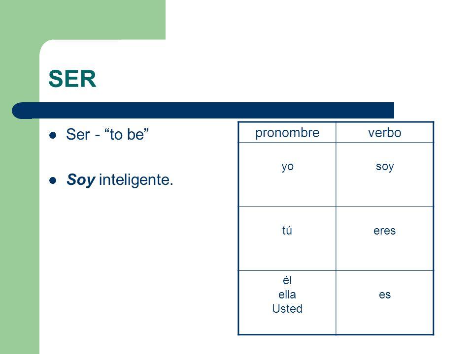 SER Ser - to be Soy inteligente. pronombreverbo yosoy tútúeres él ella Usted es