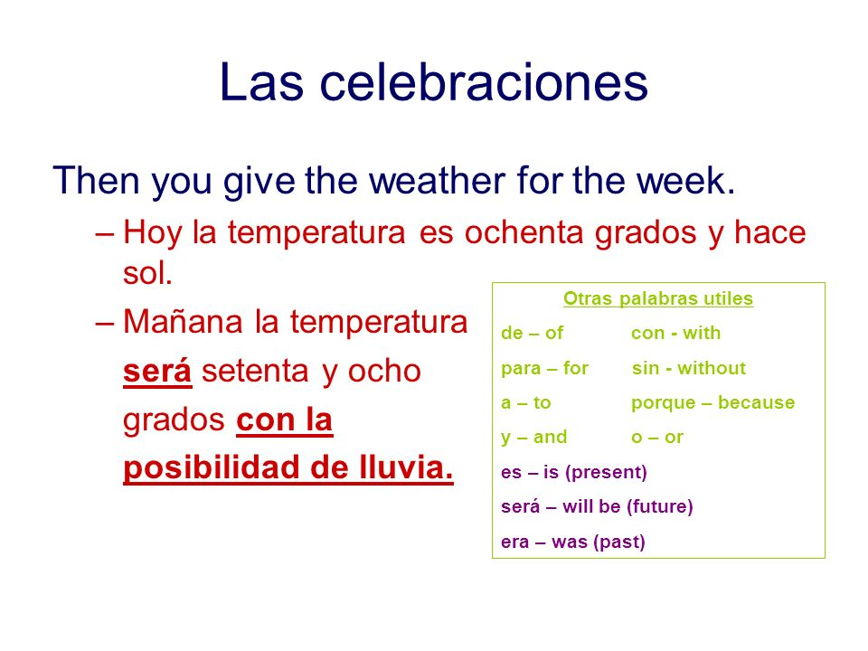 Las celebraciones Then you give the weather for the week.