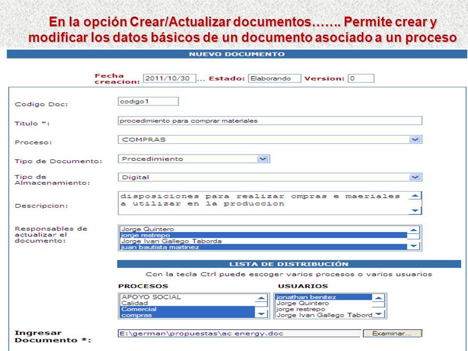 Flujo para el Control Documental: (funcionalidad complementaria al Mapa de procesos y Caracterización) Los usuarios con la responsabilidad de Administ
