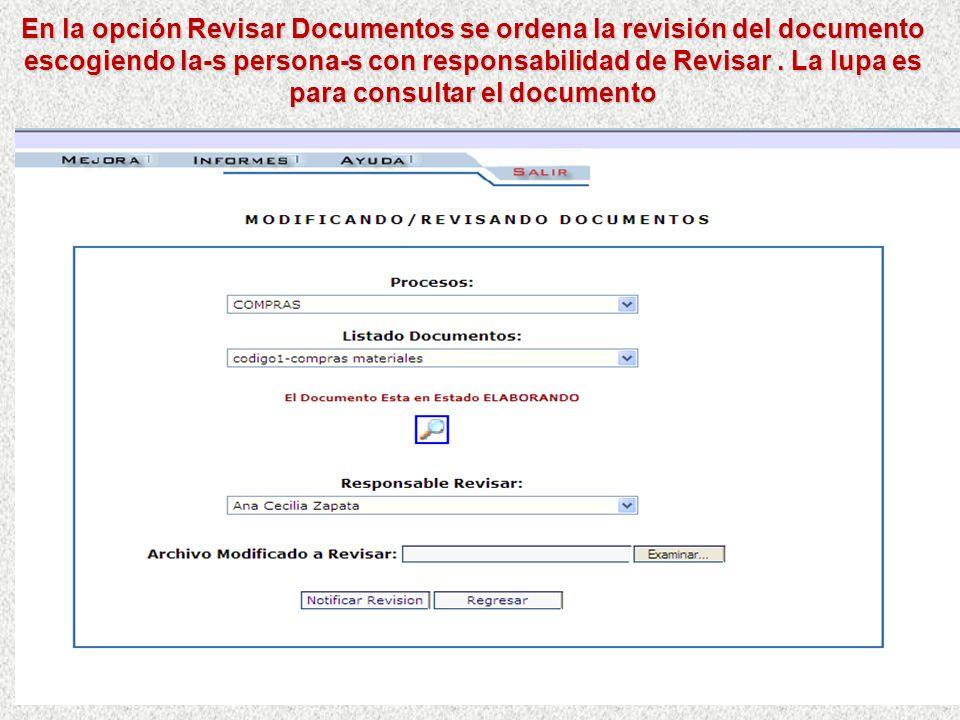 En la opción Crear/Actualizar documentos……. Permite crear y modificar los datos básicos de un documento asociado a un proceso