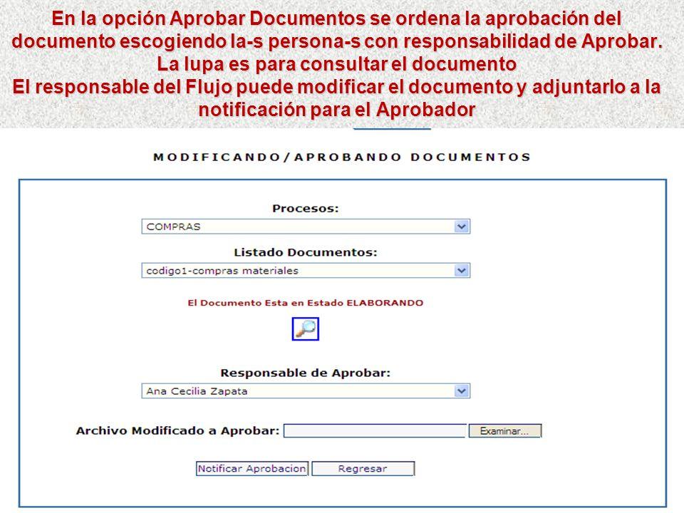 En la opción Revisar Documentos se ordena la revisión del documento escogiendo la-s persona-s con responsabilidad de Revisar. La lupa es para consulta