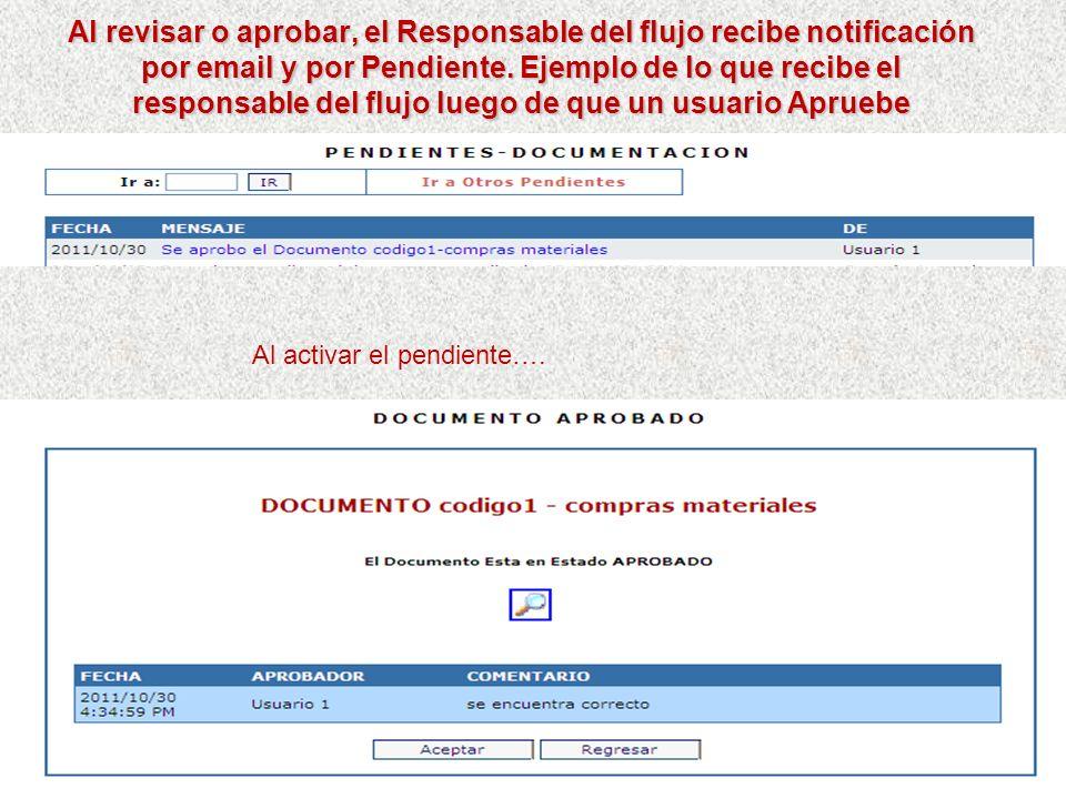 Los eventuales Revisores y Aprobadores notificados reciben mail y pendiente por el software. Ejemplo del pendiente que recibe un aprobador notificado