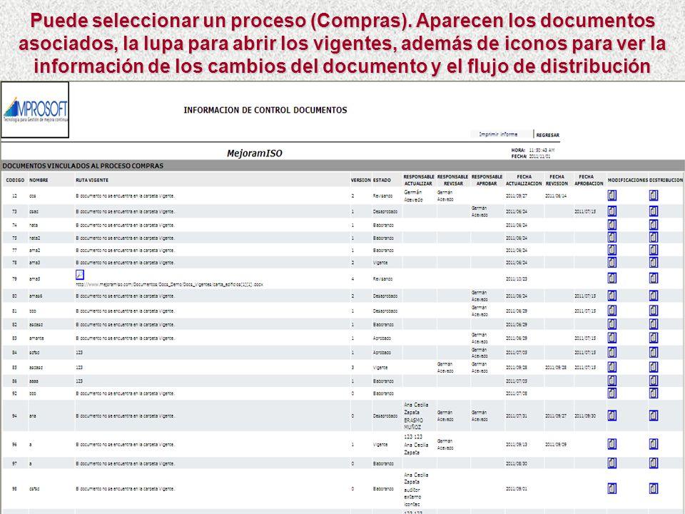Otro reporte útil para ver la información de los cambios del documento y del flujo que ha sufrido