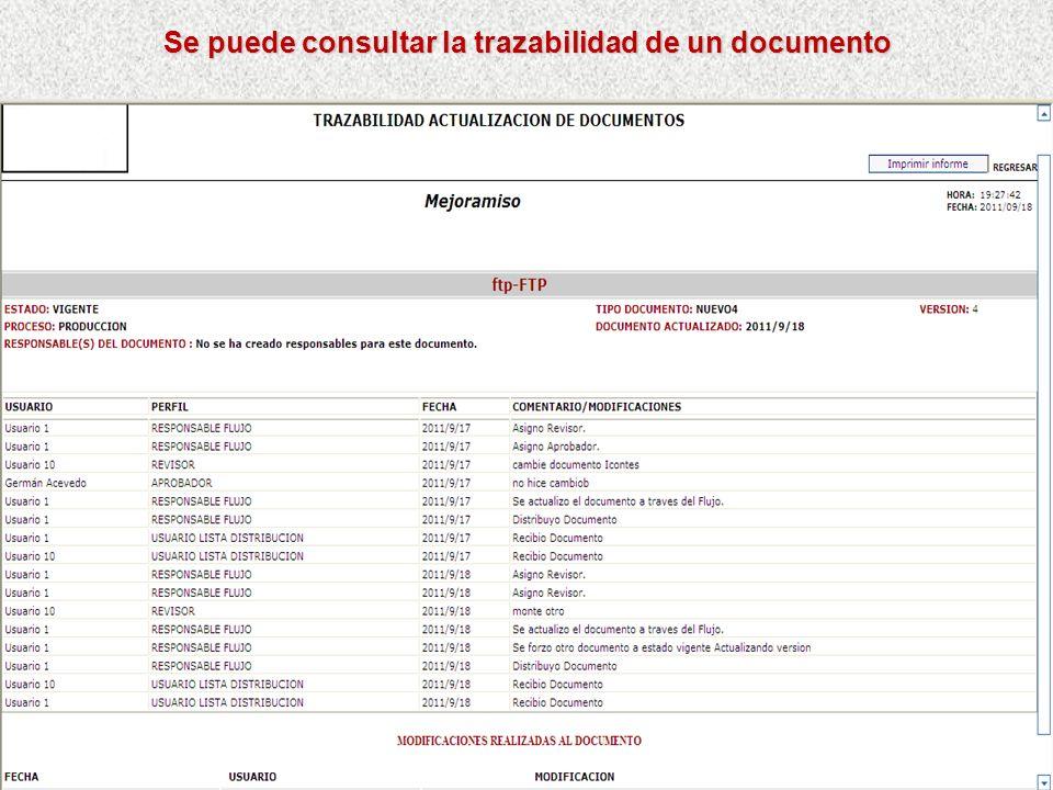 Se puede consultar documentos por texto Busca en el titulo y en la descripción los documentos que tengan el texto ingresado. Se puede consultar por la