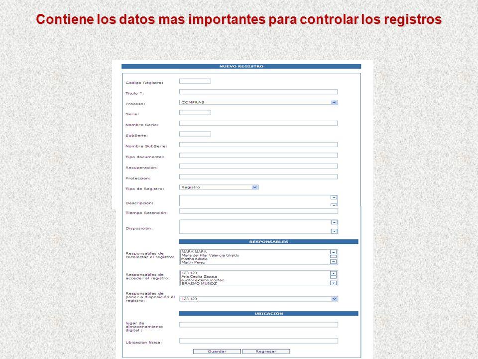 Se cuenta con las Disposiciones del Control de Registros Por Menú Mapeo y Caracterización/Control de Registros Se puede crear o modificar datos de un