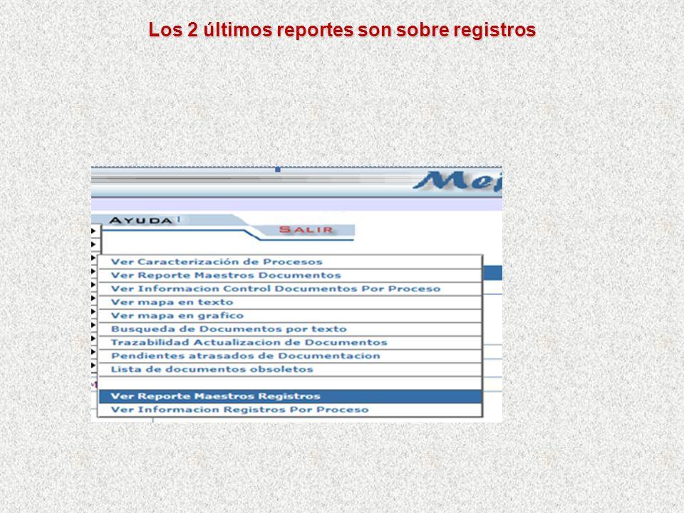 Contiene los datos mas importantes para controlar los registros