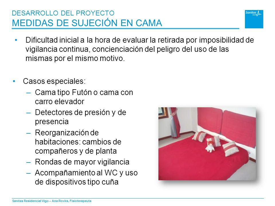 Sanitas Residencial Vigo – Ana Rovira, Fisioterapeuta DESARROLLO DEL PROYECTO MEDIDAS DE SUJECIÓN EN CAMA Casos especiales: –Cama tipo Futón o cama co