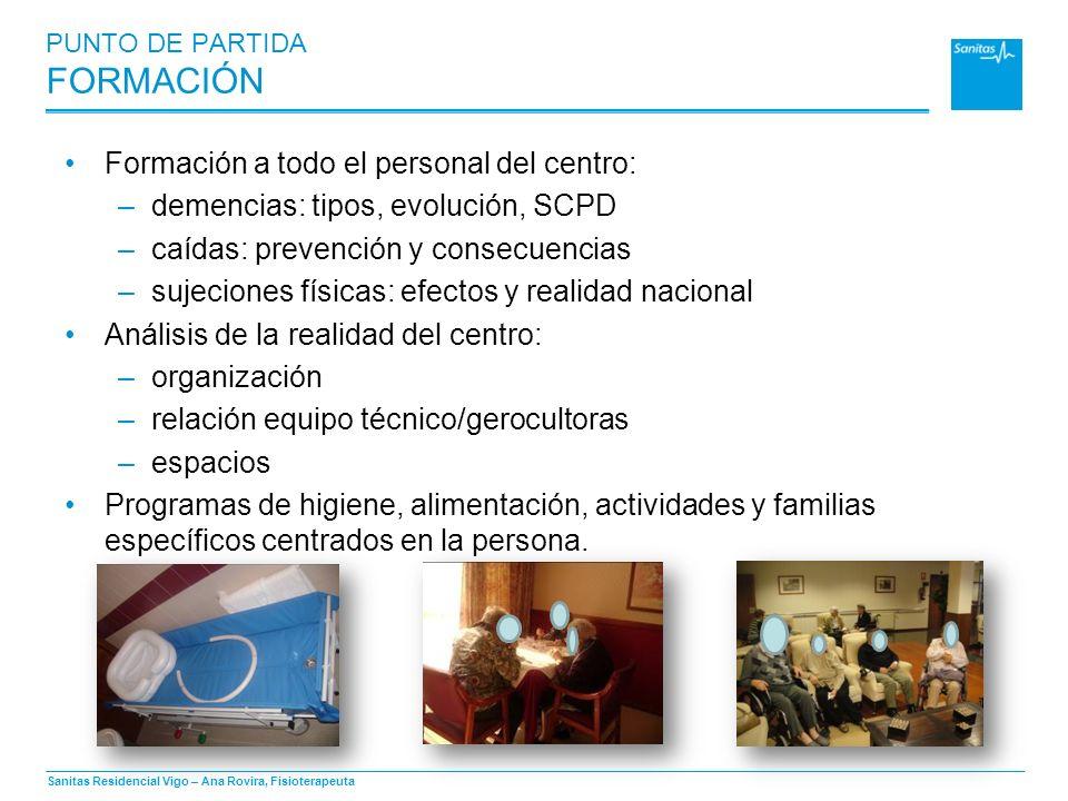 Sanitas Residencial Vigo – Ana Rovira, Fisioterapeuta PUNTO DE PARTIDA FORMACIÓN Formación a todo el personal del centro: –demencias: tipos, evolución