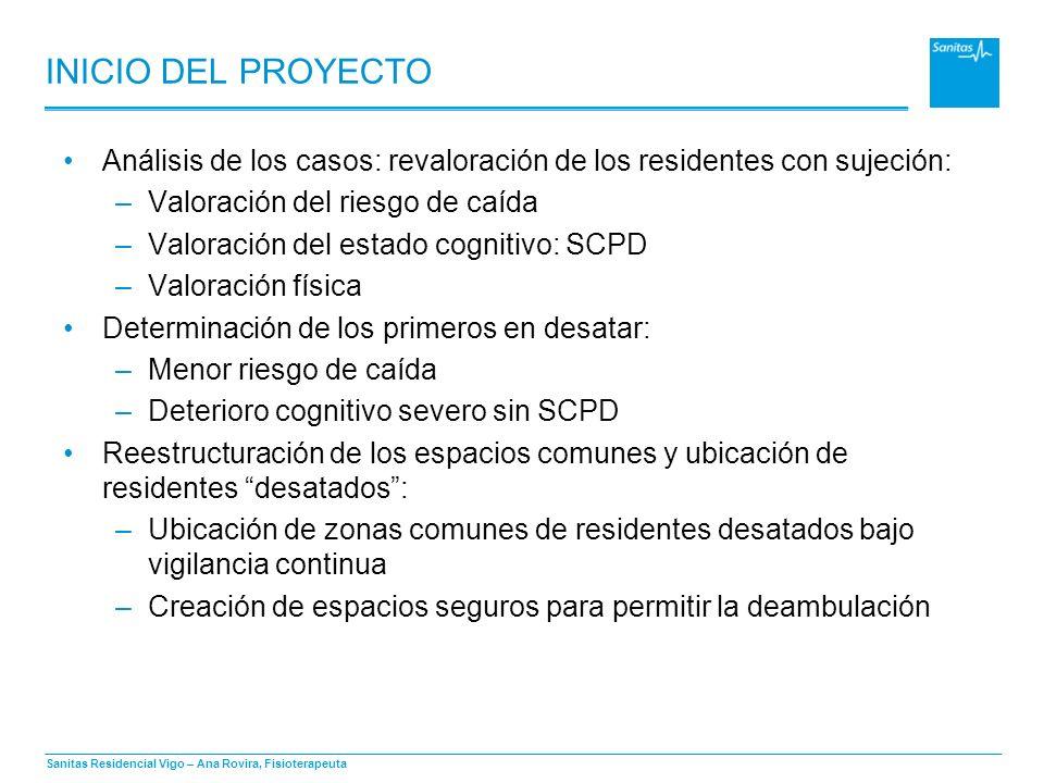 Sanitas Residencial Vigo – Ana Rovira, Fisioterapeuta INICIO DEL PROYECTO Análisis de los casos: revaloración de los residentes con sujeción: –Valorac