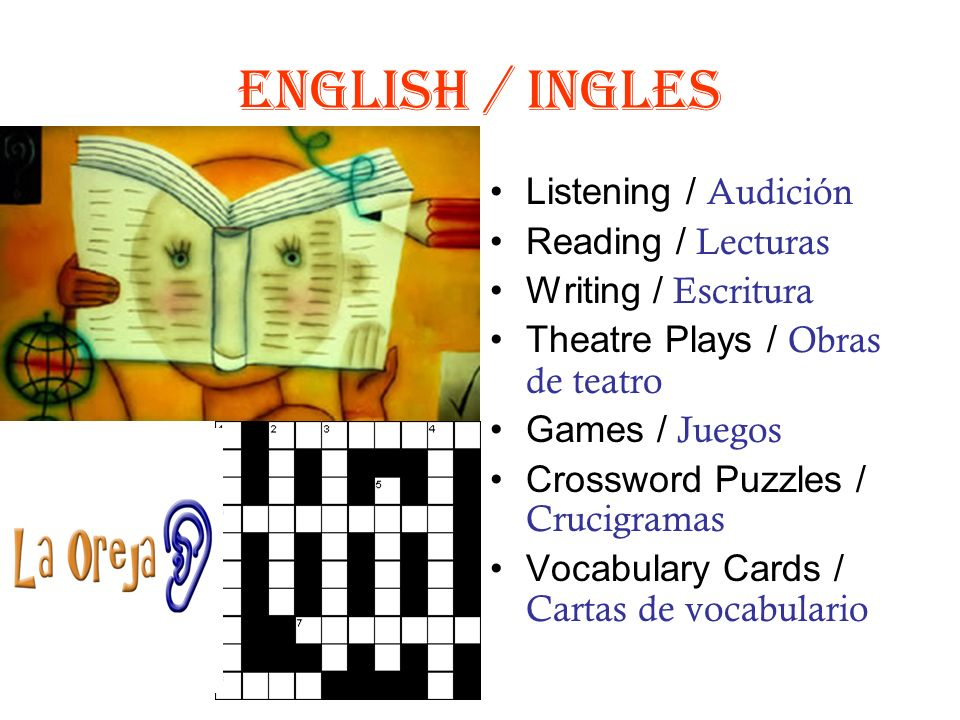 English / Ingles Listening / Audición Reading / Lecturas Writing / Escritura Theatre Plays / Obras de teatro Games / Juegos Crossword Puzzles / Crucigramas Vocabulary Cards / Cartas de vocabulario
